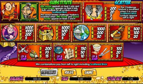 Little Master Big Bonus Slots slot game symbols paytable