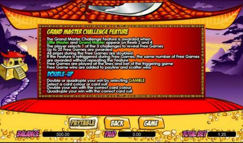 Little Master Big Bonus Slots grand master challenge feature and double-up