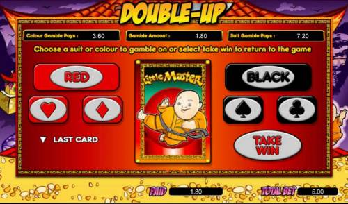 Little Master Big Bonus Slots gamble feature - choose red or black for a chance to increase your winnings