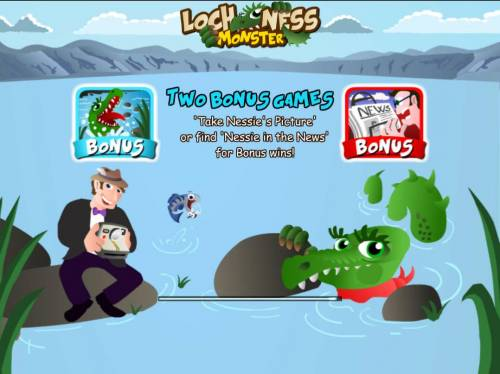 Loch Ness Monster Big Bonus Slots Game feature include: two Bonus Games - Take Nessies Picture or find Nessie in the News for bonus wins!