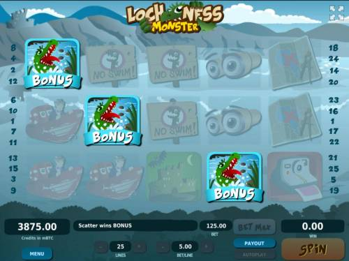 Loch Ness Monster Big Bonus Slots Three scatter symbols anywhere in view triggers the Bonus Game.