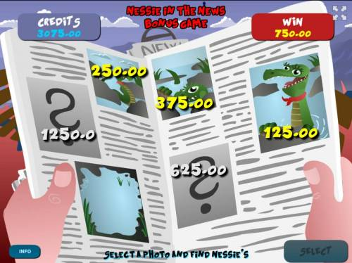 Loch Ness Monster Big Bonus Slots Game play ends when you select a photo without Nessie.