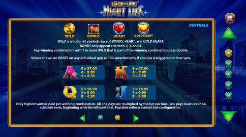 Lock it Link Night Life review on Big Bonus Slots