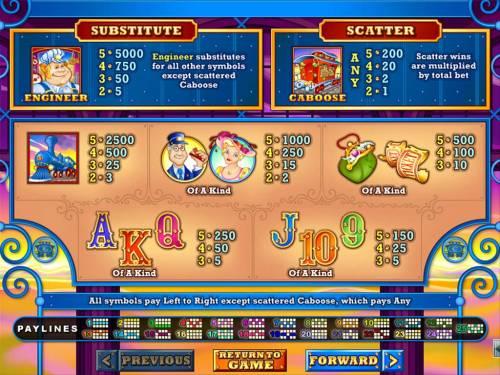 Loose Caboose Big Bonus Slots Slot game symbols paytable.