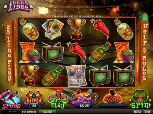 Lucha Libre Big Bonus Slots Main game board featuring five reels and 25 paylines with a $10,000 max payout