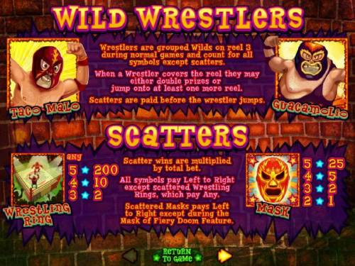 Lucha Libre Big Bonus Slots Wild and Scatter symbols rules and paytable