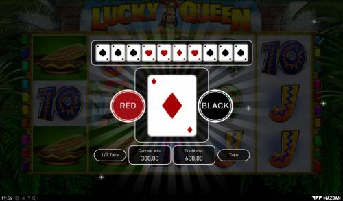 Lucky Queen Big Bonus Slots Red or Black Gamble feature