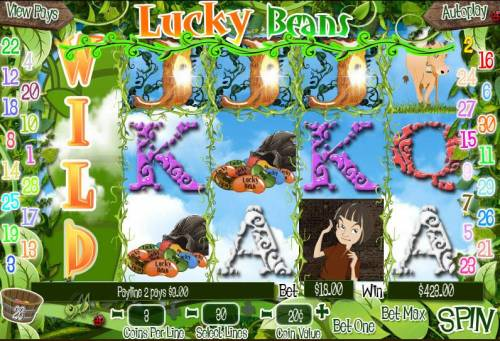 Lucky Beans Big Bonus Slots Multiple winning paylines triggers a $423.00 big win!