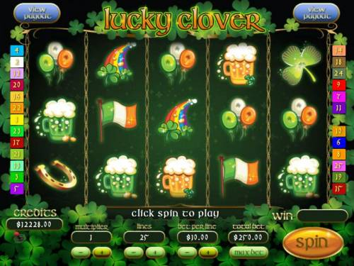 Lucky Clover Big Bonus Slots Main game board featuring five reels and 25 paylines with a Jackpot max payout