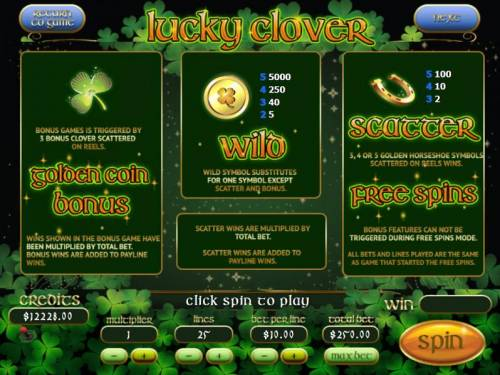 Lucky Clover Big Bonus Slots Golden Coin Bonus Game is triggered by 3 bonus Clover symbols scattered reels. Wild symbol substitutes for one symbol except scatter and bonus. Scatter, 3, 4 or 5 Money Bag symbols scattered on reels wins Free Spins.