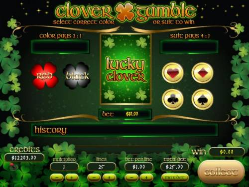 Lucky Clover Big Bonus Slots Gamble feature is available after each winning spin. Select color or suit to play.