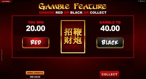 Lucky Firecracker Big Bonus Slots Gamble feature is available after each winning spin. Select color to play for a chance to increase your winnings.