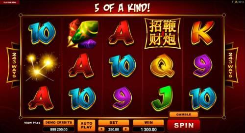 Lucky Firecracker Big Bonus Slots A five of a kind triggers a 1,300.00 Big Win!