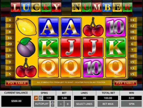 Lucky Number Big Bonus Slots Main game board featuring five reels and 20 paylines with a $25,000 max payout