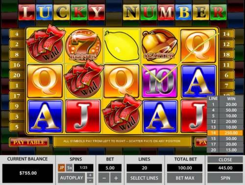 Lucky Number Big Bonus Slots Multiple winning paylines triggers a 445.00 big win!