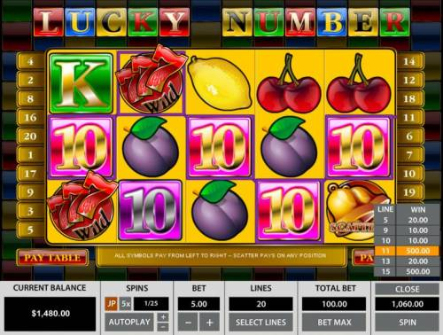 Lucky Number Big Bonus Slots two five of a kinds add 1,000.00 to the total winning spin.