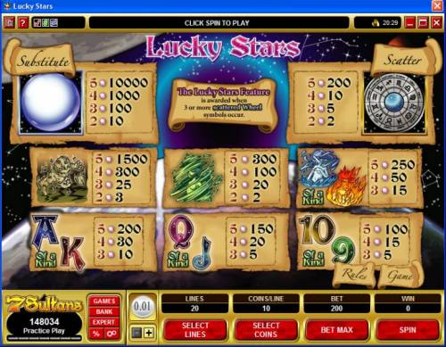 Lucky Stars review on Big Bonus Slots
