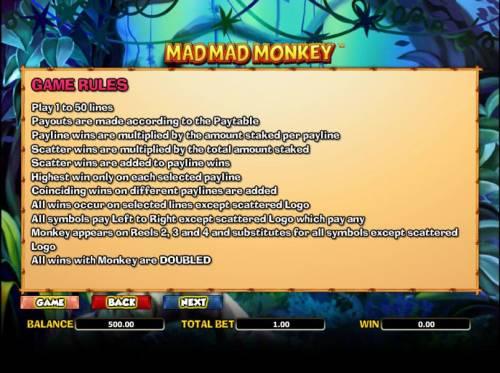 Mad Mad Monkey Big Bonus Slots game rules