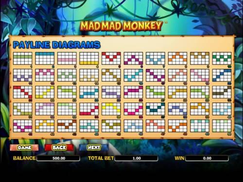 Mad Mad Monkey Big Bonus Slots fifty payline diagrams