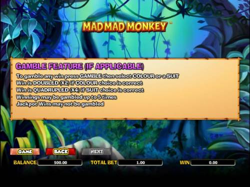Mad Mad Monkey Big Bonus Slots gamble feature rules (if applicable)