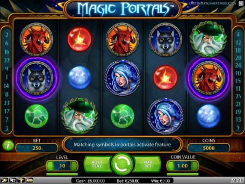 Magic Portals Big Bonus Slots main game board featuring five reels, 25 paylines and a $5,000 max payout