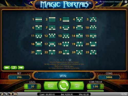 Magic Portals Big Bonus Slots payline diagrams