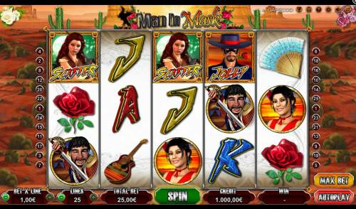Man in Mask Big Bonus Slots Main game board featuring five reels and 25 paylines with a $25,000 max payout.