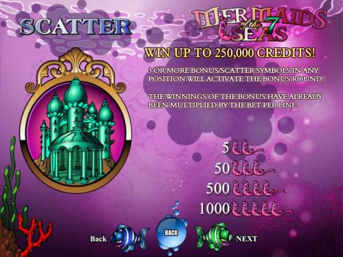Mermaids of the 7 Seas Big Bonus Slots Win up to 250,00 credits! 3 or more bonus - scatter symbols in any position will activate the bonus round.