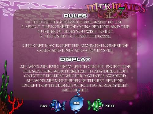 Mermaids of the 7 Seas Big Bonus Slots General Game Rules