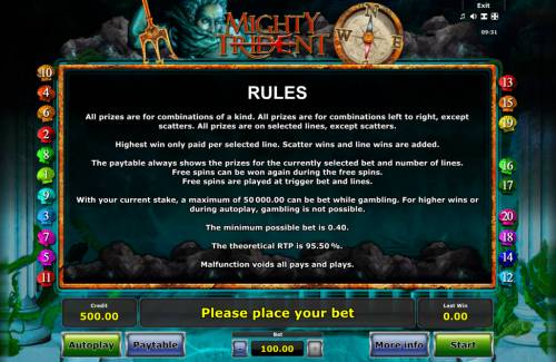 Mighty Trident review on Big Bonus Slots