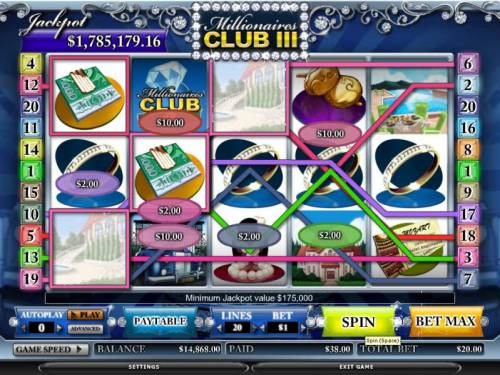 Millionaires Club III review on Big Bonus Slots