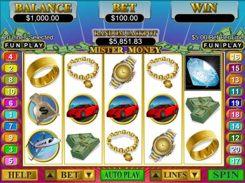 Mister Money Big Bonus Slots A luxury themed main game board featuring five reels and 20 paylines with a $250,000 max payout