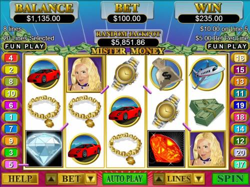 Mister Money Big Bonus Slots Multiple winning paylines triggers a 235.00 big win!