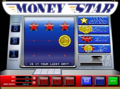 Money Star Big Bonus Slots main game board featuring 3 reels and a single payline