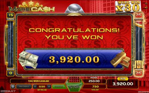 More Cash Big Bonus Slots Total free games payout 3920 coins