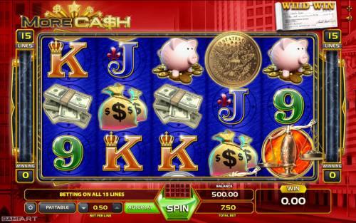 More Cash Big Bonus Slots Main Game Board