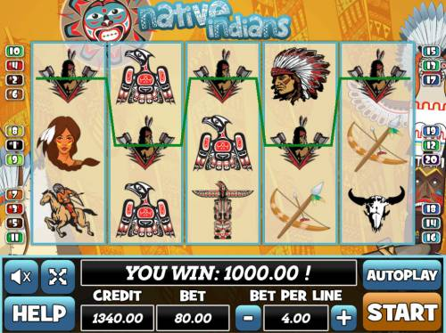 Native Indians Big Bonus Slots A winning five of a kind