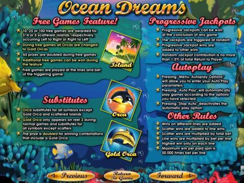 Ocean Dreams Big Bonus Slots Free Games, Progressive Jackpots and General Game Rules.