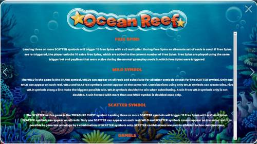 Ocean Reef Big Bonus Slots Free Spins, Wild Symbol, Scatter Symbol and Gamble Feature Rules