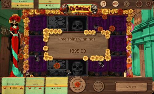 Oh Catrina Big Bonus Slots Total free spins payout 1395 credits
