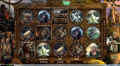 Orc vs Elf Big Bonus Slots A fantasy themed main game board featuring five reels and 25 paylines