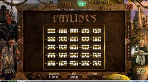 Orc vs Elf Big Bonus Slots Payline Diagrams 1-25