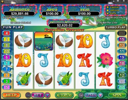 Paradise Dreams review on Big Bonus Slots