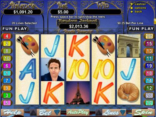 Paris Beauty Big Bonus Slots An artists themed main game board featuring five reels and 20 paylines with a $250,000 max payout