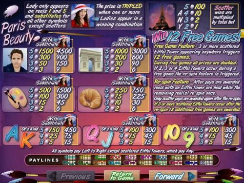Paris Beauty Big Bonus Slots Slot game symbols paytable featuring Paris inspired icons.