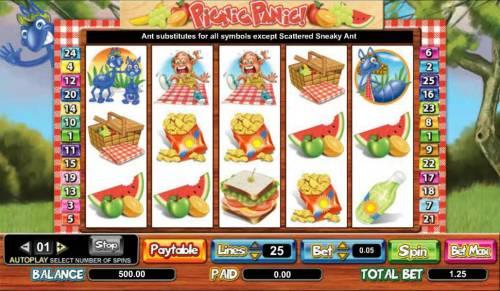 Picnic Panic Big Bonus Slots main game board featuring five reels and 25 paylines