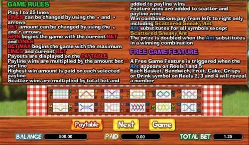 Picnic Panic Big Bonus Slots game rules and payline diagrams
