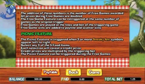 Picnic Panic Big Bonus Slots picnic feature rules