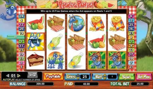 Picnic Panic Big Bonus Slots 40 coin jackpot triggered by multiple winning paylines