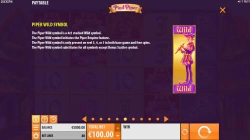 Pied Piper Big Bonus Slots Piper Wild Symbol Rules